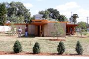 The Frank Lloyd Wright Usonian House at Florida Southern College at near completion.