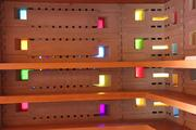 There are about 5,000 colored glass inserts in eight colors in the blocks used to build the Frank Lloyd Wright Usonian House at Florida Southern College.