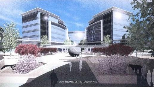 Renderings from architect Ken Rodrigues & Co. show the design of the 2 million-square-foot office park in North San Jose from developer and property owner Peery-Arrillaga.