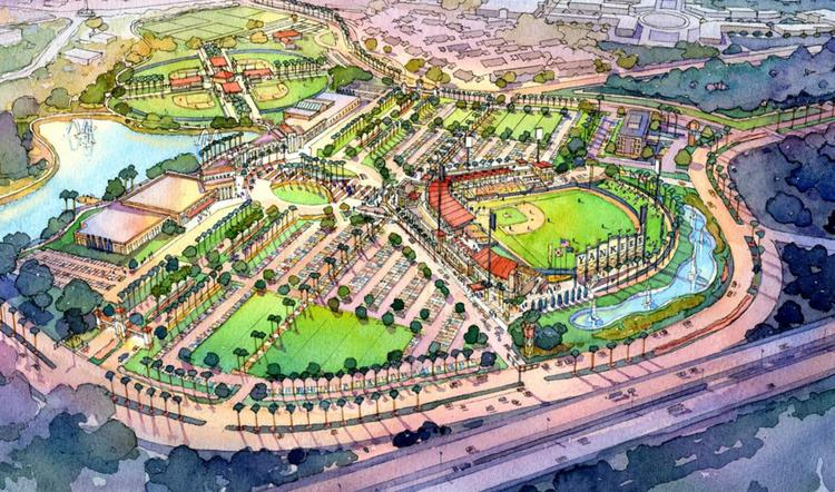A rendering of a proposed new minor league baseball stadium in Ocala that would be the new home of the New York Yankees Class A team currently playing in Tampa.