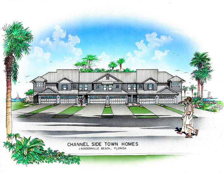 A rendering of Channelside Luxury Townhomes, which will be off of Beach Boulevard on the Intracoastal Waterway in Jacksonville Beach. Click through for the views from the site.