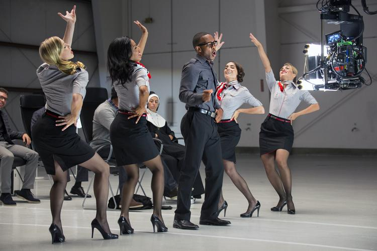 A scene from Virgin America's toe-tapping, hand-clapping, thoroughly entertaining safety video.