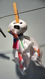 Even the crafts at Eco Baby Daycare are environmentally friendly. This finger puppet is made from recycled T-shirts.