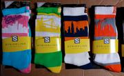 Strideline's city skyline socks included depictions of, left to right, Los Angeles, San Francisco, Chicago and Seattle.
