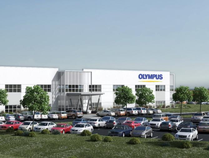 A rendering of the Olympus Surgical Technologies America building in Brooklyn Park.