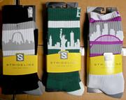 Strideline's city skyline socks included depictions of, left to right, Saint Louis, New York City and Portland.