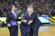 It was a moment of celebration and jubilation for a couple of the people behind keeping the Sacramento Kings local. Lead ownership group investor Vivek Ranadive watches as outgoing NBA commissioner David Stern gets a hug from Mayor Kevin Johnson.