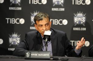 Sacramento Kings lead team owner Vivek Ranadive speaks before the season opener.