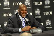 Former NBA player Shaquille O'Neal brought his star power to the Sacramento Kings by becoming part of the ownership group. He's at a news conference before the season opener.