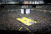 Players take the court at the season opener of the Sacramento Kings game.