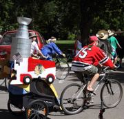 If you like props, making a Stanley Cup replica is easy enough. Simply tape up stacks of plastic containers and bowls, then cover with either foil or duct tape. Pair with a Blackhawks jersey, and you're in the championship parade.