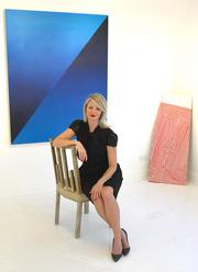 Sarah Gavlak at the Gavlak Gallery in Palm Beach with two works by Andrew Brischler: I Am Your Worst Fear, I Am Your Best Fantasy (Blue) and Smells Like Teen Spirit.