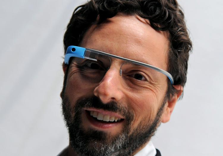 Sergey Brin, co-founder of Google, wearing Project Glass Internet glasses.