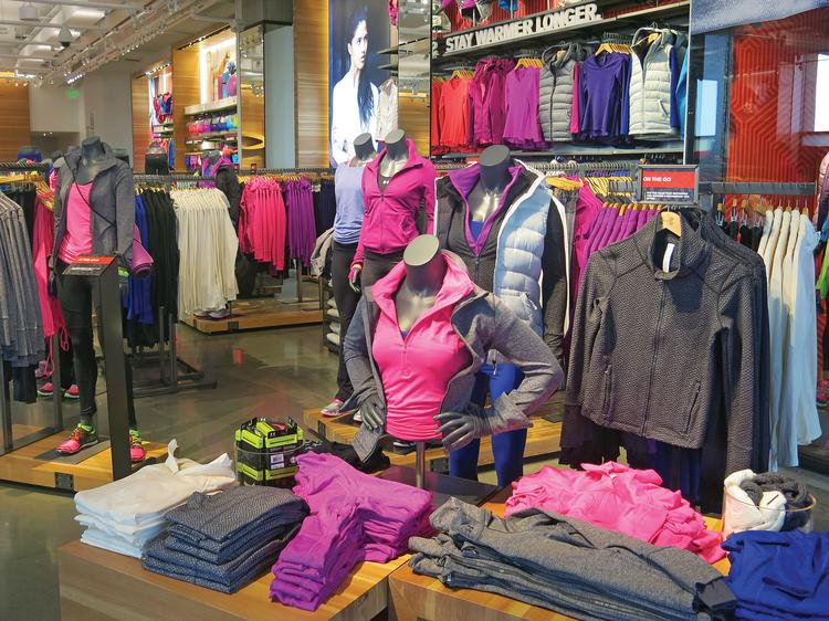 Under Armour has a large selection of apparel for women in its Harbor East store.