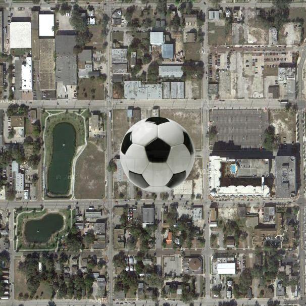 An overview of the site of Orlando's MLS soccer stadium, and the surrounding blocks.
