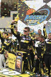 Carl Edwards celebrates his win in the Subway Fresh Fit 500 at Phoenix International Raceway in March.
