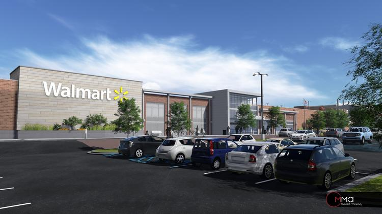 A rendering of the Walmart proposed for 25th Street Station in Baltimore's Remington neighborhood.