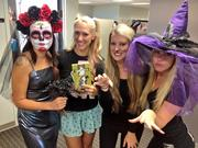 Tampa Bay Business Journal employees getting in the spirit of Halloween. Sarah Spratley, Jennifer Bentson, Stephanie Eukovich and Samantha Rose.