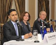 Panelists Dr. Nirav Shah, commissioner of health, New York State;  Ruth Anne Hackett, leader, GE Power and Water Health Services and  James Reed, president & CEO, St. Peter's Health Partners