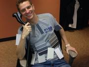 """Garrett Haake, reporter at NBC's 41 Action News, dresses as """"50 Shades of Grey"""" for Halloween."""