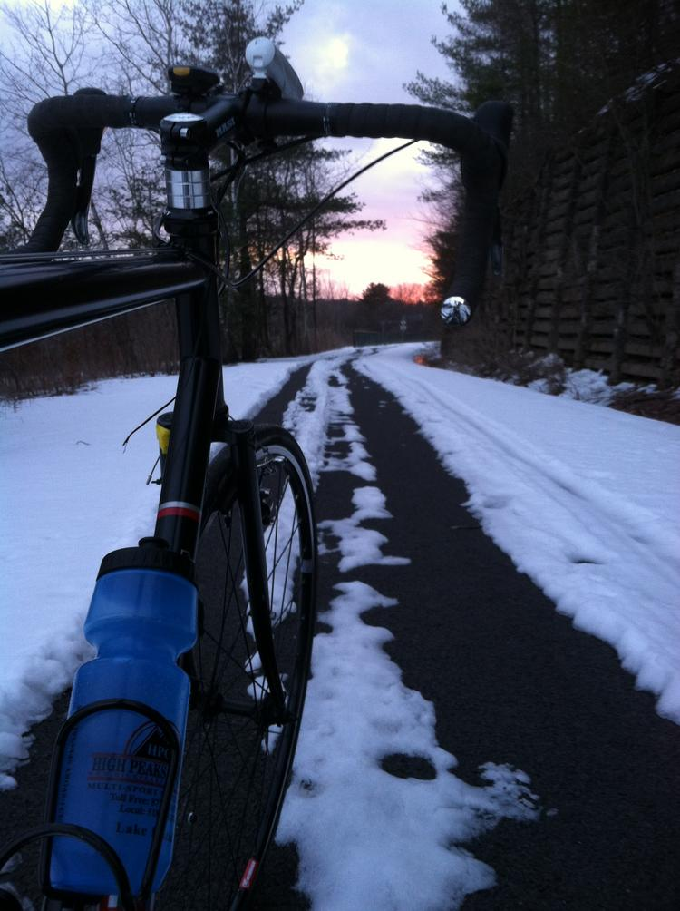 I took this photo on my first bike commute of the season. It was March 27, seven days after the first day of spring. While things have improved—the snow has melted, thank goodness—mornings have still been cold.