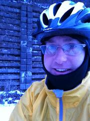 Looking dorky in my balaclava. Bike commuting in winter-like weather requires me to wear stuff that boosts my dork appeal. You should see the neoprene covers I wear over my shoes.
