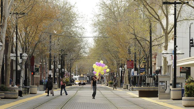 This stretch of K Street, shown in 2009, was closed to vehicles for more than 40 years to encourage pedestrian traffic and retail sales. It reopened to vehicles in November 2011, again to stimulate sales. But because that re-opening was so successful, the city is now closing the stretch again on weekend nights.
