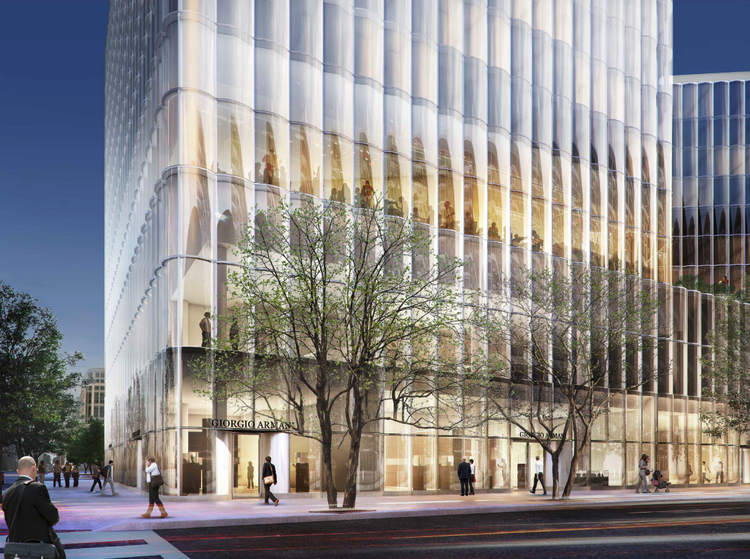 """A rendering of the CityCenterDC hotel, with a good look at the retail space. The placeholder name on the building is """"Giorgio Armani."""""""