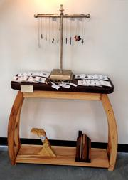 Jewelry by Robin Mackintosh, Weird Buttons; table by Russell Pisciotta