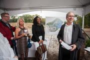 Sandy Aron, president of Hunington Properties Inc., with guests at the Oct. 30 groundbreaking