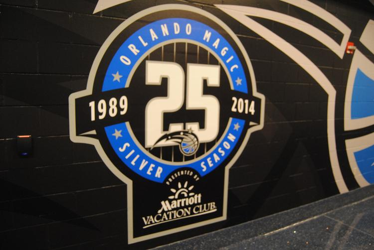 The Amway Center, home court for the Orlando Magic, is decked out with 25th anniversary emblems on every level.