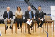 From left: Marriott Vacation Club CEO Stephen P. Weisz, Orange County Mayor Teresa Jacobs, Orlando Mayor Buddy Dyer and Orlando Magic CEO Alex Martins