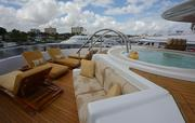 """The hot tub on the bow deck of the Westport Yachts' 164-foot """"Vango."""" The tri-deck yacht had a price tag of $26.9 million and is listed on superyachts.com."""