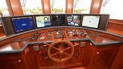 """A mixture of both old and new on the bridge of the 137-foot yacht """"Bread."""""""