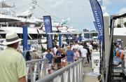People crowd the docks at the 54th annual Fort Lauderdale International Boat Show.