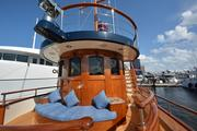 """The forward deck area of the 137-foot yacht """"Bread"""""""