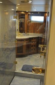 """The pass through the shower room of the master stateroom onboard """"Bread."""""""