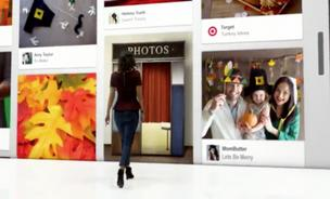 A woman walks into a giant Pinterest board in Target's new holiday advertising campaign.