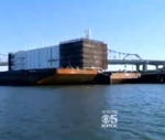 Google barge docks in Stockton