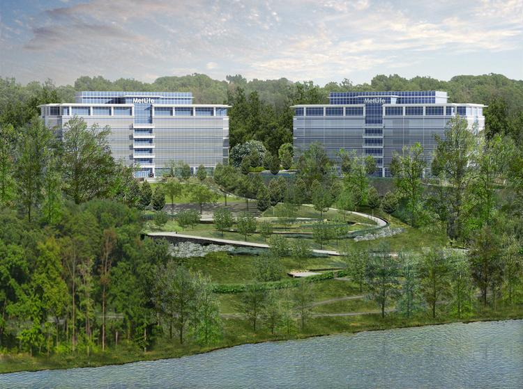 A rendering of the planned MetLife hub campus in Cary.