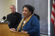 Liz Baxter, chair of the Cover Oregon board, also spoke at Friday's press conference.