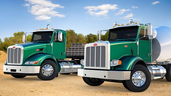 Trucks can now be powered by natural gas, such as these Peterbilt models.