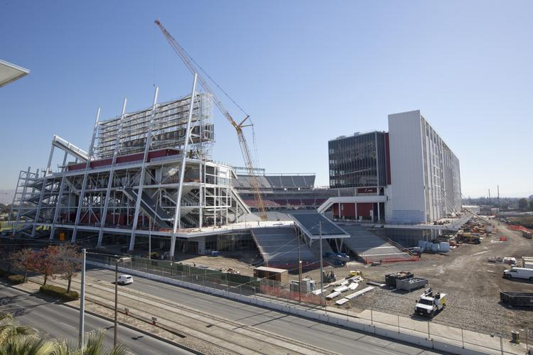 The progress of the new San Francisco 49ers stadium in Santa Clara, as of November 1, 2013. Hotel rooms in the city are increasingly hard to find, even before the stadium opens during the summer of 2014.