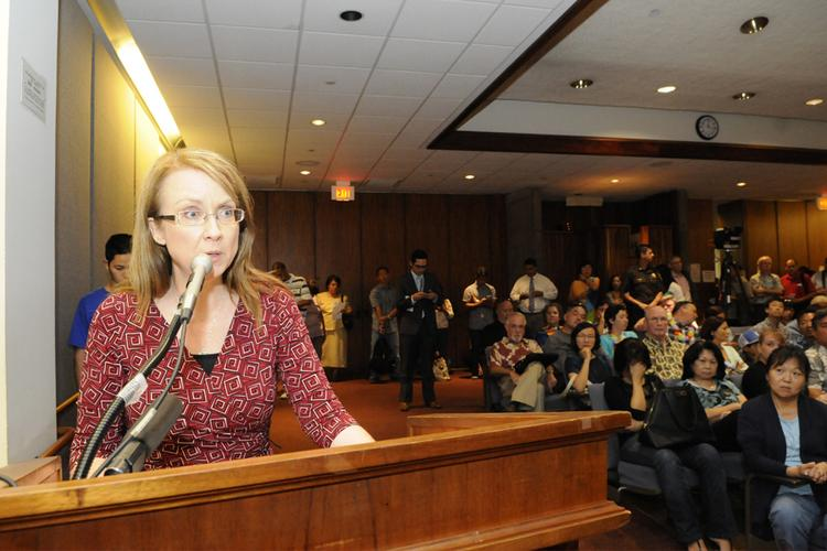 Lisa LeBrun testifies against Senate Bill 1, which would legalize same-sex marriage in Hawaii, during a House hearing Friday at the state Capitol in Honolulu. LeBrun was among 5,181 people who had registered to testify on the bill.