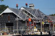 Activity is constant as the building structures take shape.