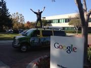 Tom Savage tests the suspension on his van/apartment as he sightsees at Google in Mountain View.
