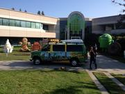Tom Savage drives his van/apartment onto Google's campus to grab a quick pose with the Android operating system statues, Gingerbread, Kit Kat and Cupcake.