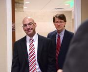 Greg Thompson of Orlando Health and Dr. Alan Green of Stetson University arrive during the networking segment.