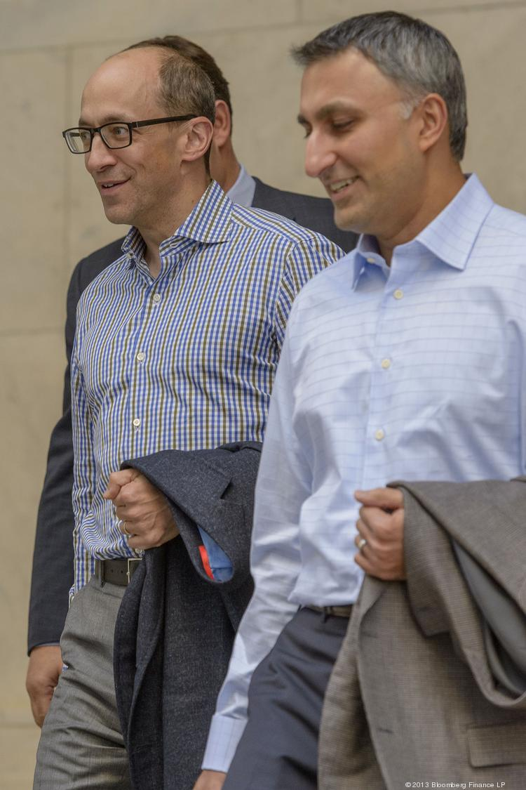 Twitter CEO Dick Costolo, left, and CFO Mike Gupta, are seen after meeting with potential investors last week in Philadelphia. The San Francisco-based company is facing many questions about its future as it prepares for its expected New York Stock Exchange debut on Thursday.