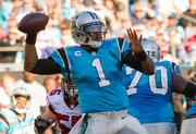 Panthers quarterback Cam Newton rears back to throw.
